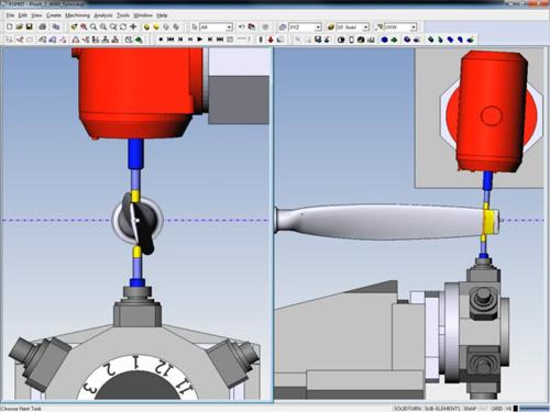 Esempio di fresatura a 5 assi guidata da computer mediante software CAM
